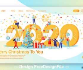 Merry Christmas flat character website layout vector