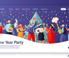 Merry Christmas party flat character website layout vector
