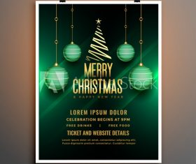 Merry Christmas party flyer template design on green background vector