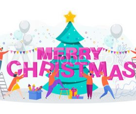 Merry christmas 2020 cartoon illustration vector