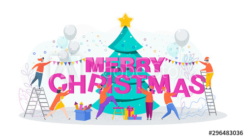 Merry christmas 2020 cartoon illustration vector