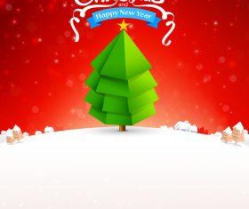 Merry christmas text tree with snow bakcground vector