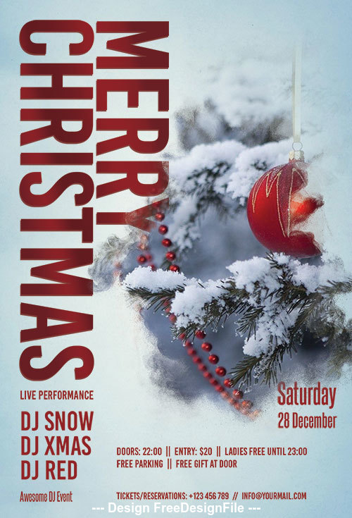 Merry christmas winter party flyer psd template