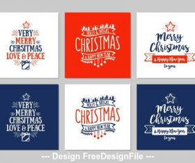 Merry chrsitmas greeting card collection vector
