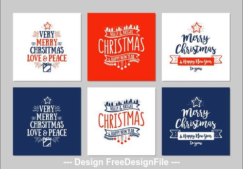 Merry chrsitmas greeting card collection vector