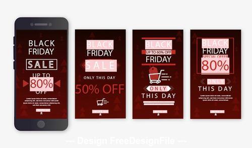 Mobile black friday promotion flyer 2020 vector