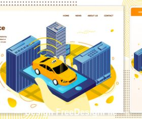 Mobile phone booking taxi cartoon cover vector