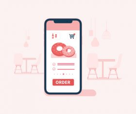 Mobile phone ordering illustration vector
