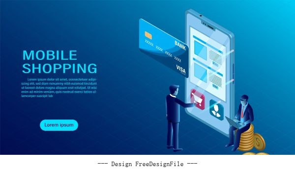 Mobile with shopping concept software data interaction order interface tracking modern flat isometric illustration vector