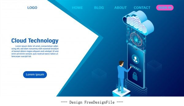 online computing technology illustration vector