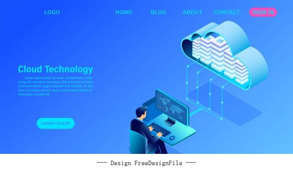 Modern cloud technology and networking concept online vector