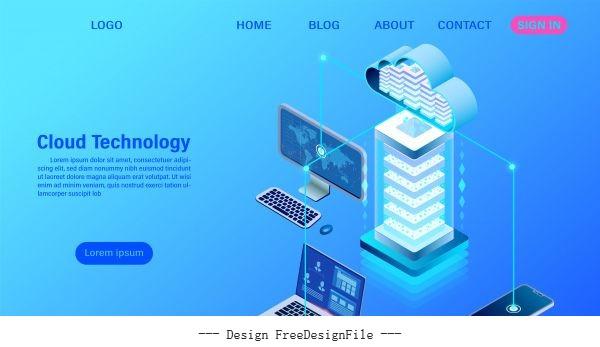 Modern cloud technology illustration vector