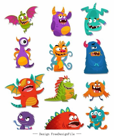 Monsters icons funny cute cartoon colorful vector