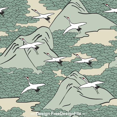 Mountain cranes pattern background vector