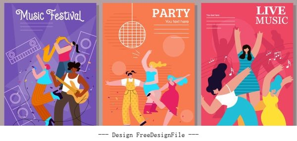 Music banner templates cheering people colorful motion vectors material