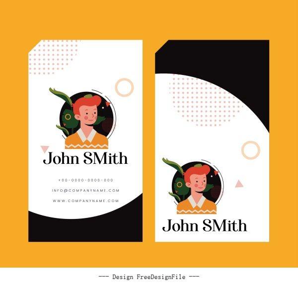 Name card template portrait vertical design vectors