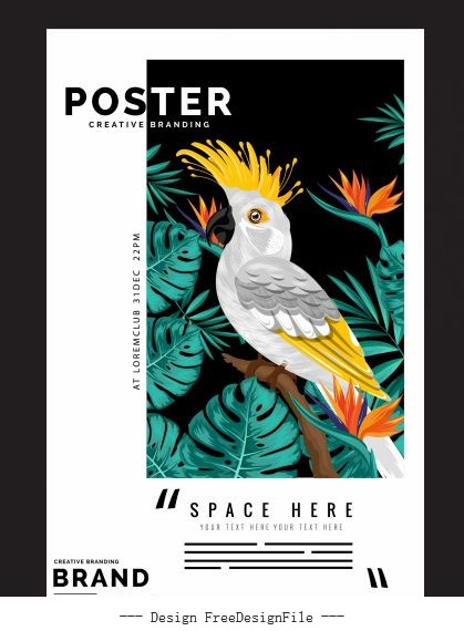 Nature poster template tropical parrot flowers vector