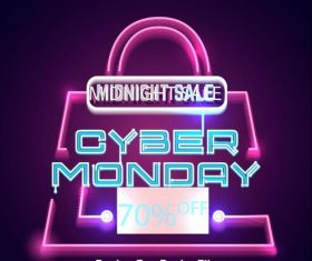Neon cyber monday with shopping bag vector