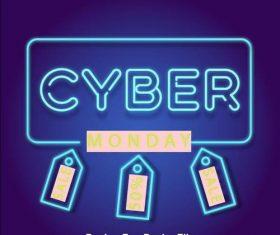 Neonowy styl cyber poniedzialku sprzedazy tlo vector