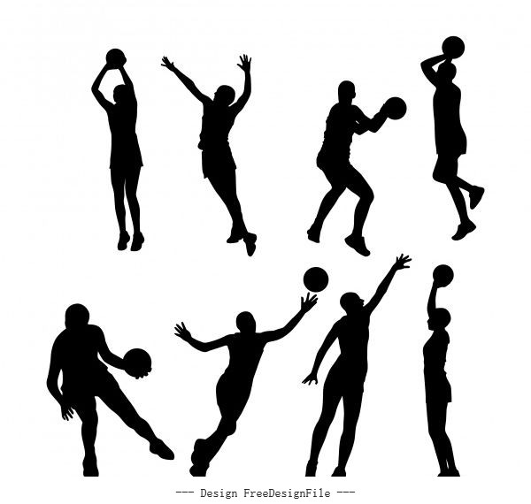 Netball silhouettes set vector