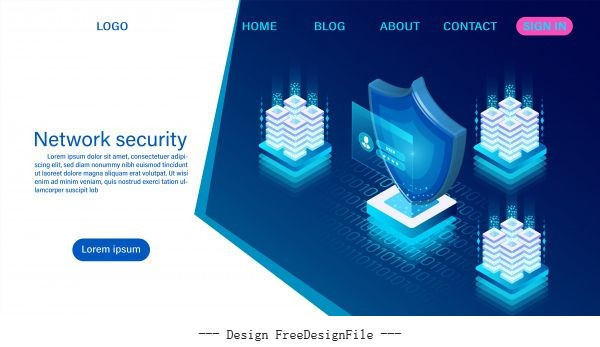Network data security concept data processing protection digital information flat isometric illustration vector material