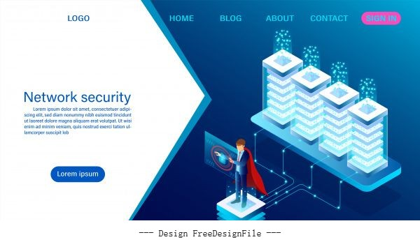 Network data security concept data processing protection digital information flat isometric illustration vectors