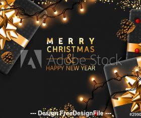 New Year background and gifts vector
