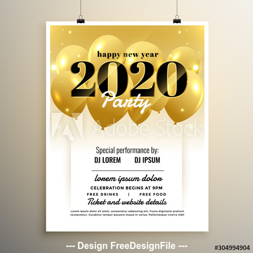 New Year party golden balloon background flyer vector