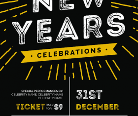 New Years Celebration Flyer PSD Template Design