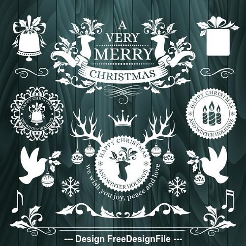 New year christmas frame border card vector