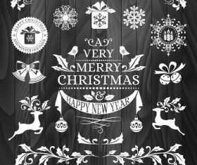 New year christmas sticker logo frame border card vector