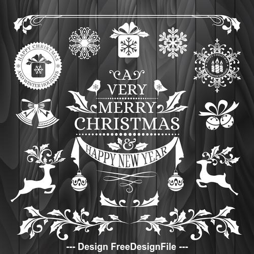 New year christmas sticker logo frame border card vector