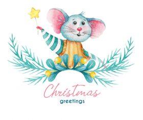 New year greetings greeting card watercolor illustrations vector