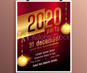 New year party celebration cover flyer template design vector