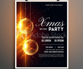 New year party flyer shiny christmas ball decoration vector