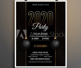 New year party flyer template vector on black striped background