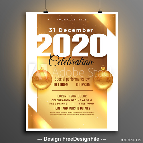 New year party golden background flyer vector