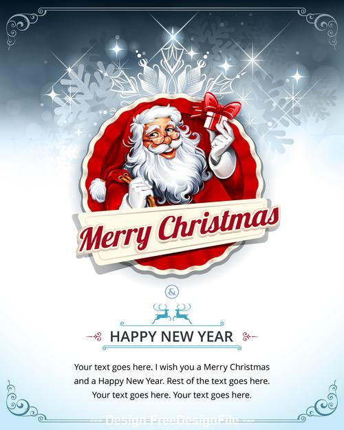 New year santa greeting card text vector