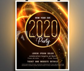 New year shiny party event flyer template vector