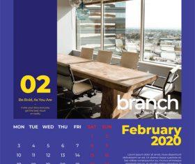 Office cover calendar 2020 vector