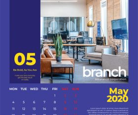 Office interior cover calendar 2020 vector