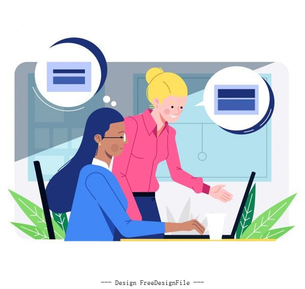 Office work background staffs communication cartoon vector