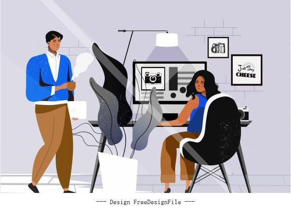 Office work background staffs workdesk cartoon vector