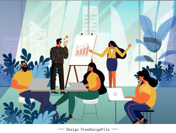 Office work background working staffs vector