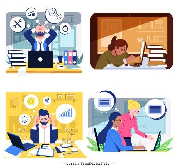 Office work backgrounds workload cartoon vector material