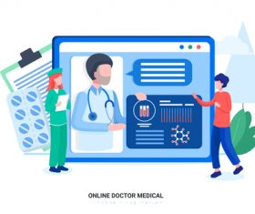 Online doctor medical vector