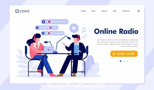 Online radio internet technology vector