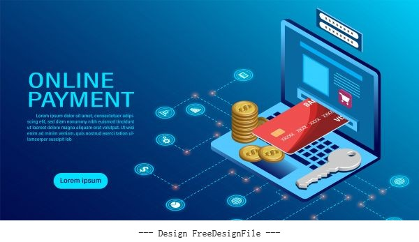 Online payment with computer protection money in laptop transactions modern flat isometric illustration vector design