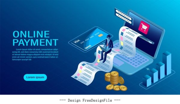 Online payment with computer protection money in laptop transactions modern flat isometric illustration vector material