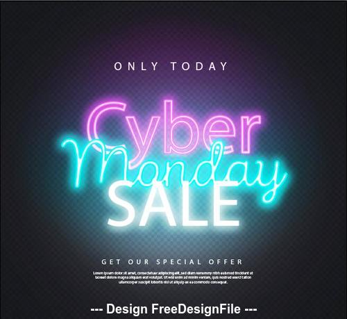 Only today cyber monday sales neon style vector